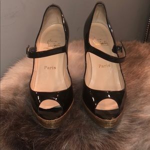 Authentic Christian Louboutin patent Mary Janes 38